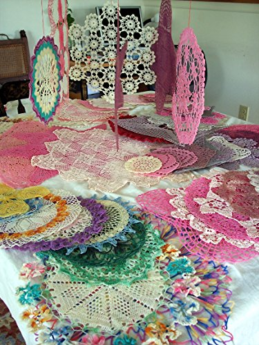 VINTAGE Cloth Doilies Hardened with Plastic Resin (Plasticized), Unique, rare antique collectibles refurbished to new lace decorations