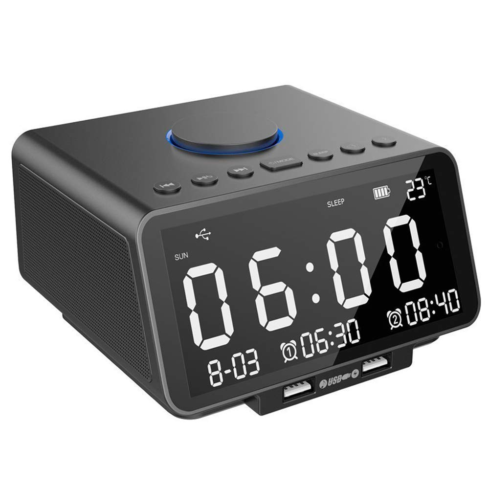 WMTGUBU Alarm Clock FM Radio LED Display with Dual Alarm Clock,Wireless Bluetooth Player,TF-Card,USB Port,3.5mm AUX Jack,Nap/Sleep Timer,Indoor Temperature/Day/Date Display with Dimming(Black)
