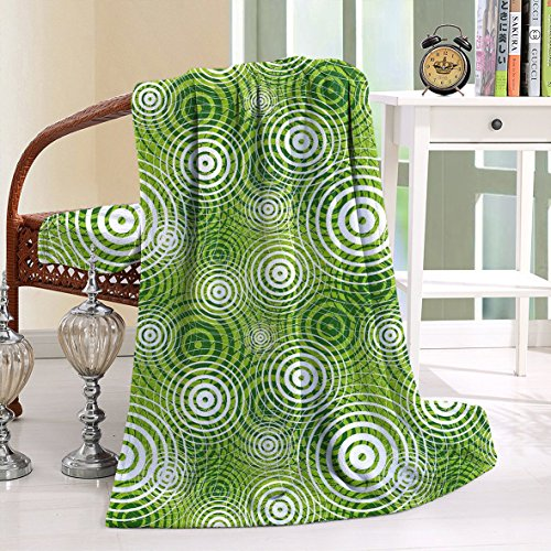 HAIXIA Blanket Circular Round Shaped Inner Geometric Eco Wavelength Lime and Hunter Green White (Polly Pocket Harry Potter)