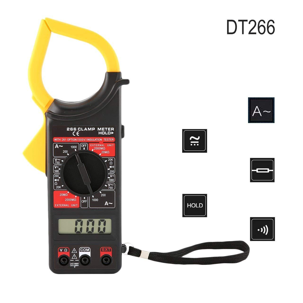 Jasnyfall DT266 Handheld Digital Clamp Meter Multimeter AC//DC Volt Amp Ohm Tester Gelb /& Schwarz