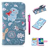Galaxy A3 (2014) Case, Firefish Premium PU Leather Wallet Case with Card Slots Magnetic Closure Folding Cover [Detachable Straps] Unique Design for Samsung Galaxy A3 (2014) - Loving Cat
