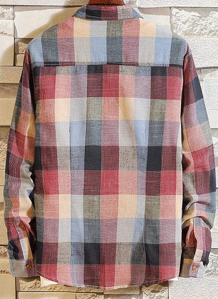 XiaoTianXinMen XTX Mens Fashion Casual Relaxed Fit Plus Size Plaid Print Long Sleeve Button Down Dress Shirts