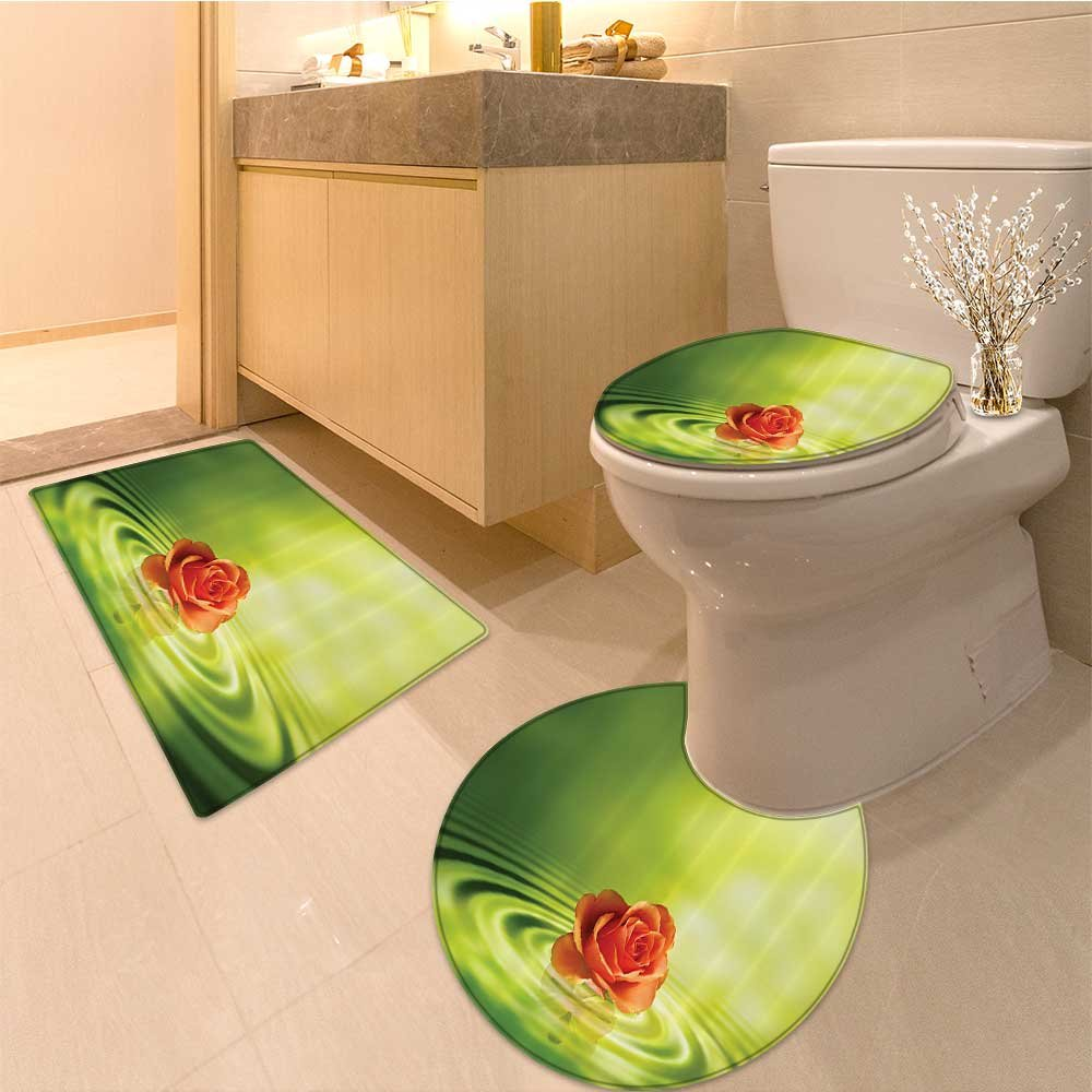 3 Piece Anti-slip mat set Collection Bunch of Colorfu Rosebuds Luxury Continuous Natura Illustration Fabric wi Non Slip Bathroom Rugs
