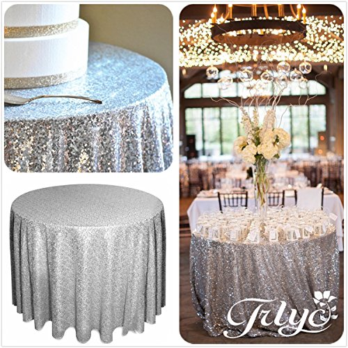 72 Round Sparkly silver Sequin Table Cloth Sequin Table Cloth,Cake Sequin Tablecloths, Sequin Linens for Wedding