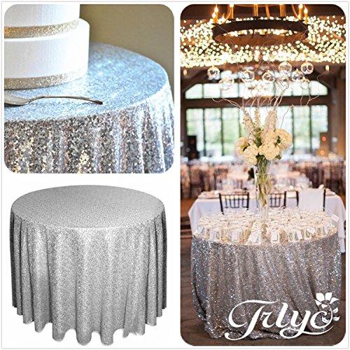 "61dEARnpiML - 156"" Round Sparkly silver Sequin Table Cloth Sequin Table Cloth,Cake Sequin Tablecloths, Sequin Linens for Wedding"