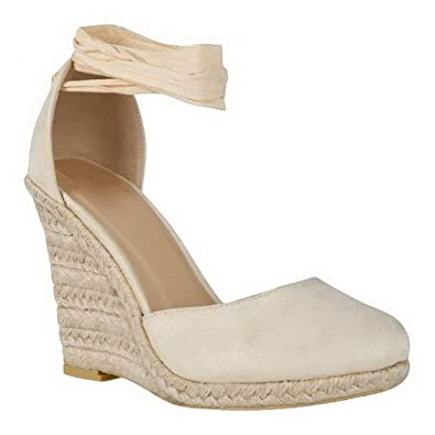 634130a55b2 LADIES WOMENS LACE UP ANKLE STRAP ESPADRILLE HIGH WEDGE HEEL SANDALS SHOES  SIZE [Nude Faux Suede UK 3 / EU 36 / US 5]