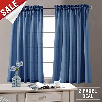 Amazon Com Semi Sheer Curtain Panels For Bedroom 54 Inches Length
