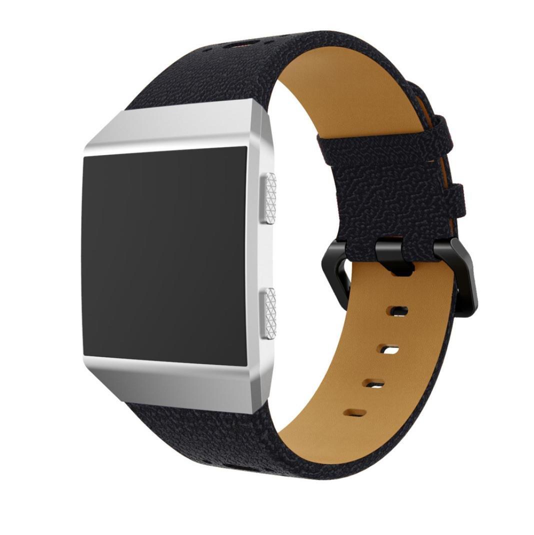 For Fitbit Lonicバンド、調節可能なラグジュアリースポーツレザーブレスレットバンドストラップ2つ色交換用リストバンドFitbit Ionicスマート腕時計アクセサリーバックル付きレディースメンズ ブラック C C B079159PQW