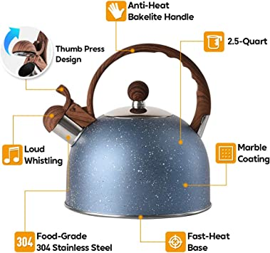 Tea Kettle VONIKI 2.5 Quart Tea Kettles Stovetop Whistling Teapot Stainless Steel Tea Pots for Stove Top Whistle Tea Pot With Wood Pattern Anti-slip Handle Water Kettle Gift Blue