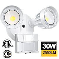 30W LED Security Lights Motion Outdoor 2550 Lumen 5000K BBOUNDER Motion Sensor Activited Lights Waterproof IP65 ETL Certificated 2-Head Adjustable Flood Light for Entryways Stairs Yard and Garage