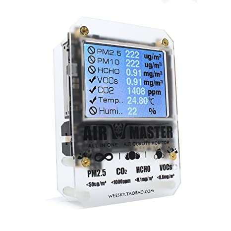 Air Master AM7 Plus Gas Sensor Home PM2 Tester Detector DART Formaldehyde 2-FE5 VOC Sensirion 0053 CO2 Open Source - - Amazon.com
