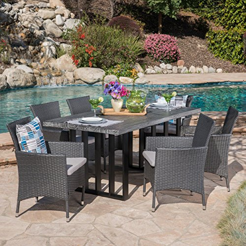 Sophia Outdoor 7 Piece Grey Wicker Dining Set with Grey Oak Finish Light Weight Concrete Dining Table and Silver Water Resistant ()