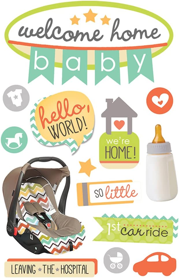 Paper House Productions STDM-0264E 3D Stickers, Welcome Home Baby (3-Pack)