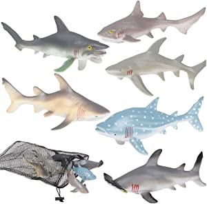 ArtCreativity Shark Figures in Mesh Bag - Pack of 6 Sea Creature Figurines in Assorted Designs, Bath Water Toys for Kids, Shark Party Favors for Toddlers, Boys, and Girls, Ocean Life Party Decor