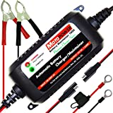 MOTOPOWER MP00206A 12V 1.5Amp Fully Automatic Battery Charger/Maintainer for Cars, Motorcycles, ATVs, RVs, Powersports, Boat and More. Smart, Compact and Eco Friendly