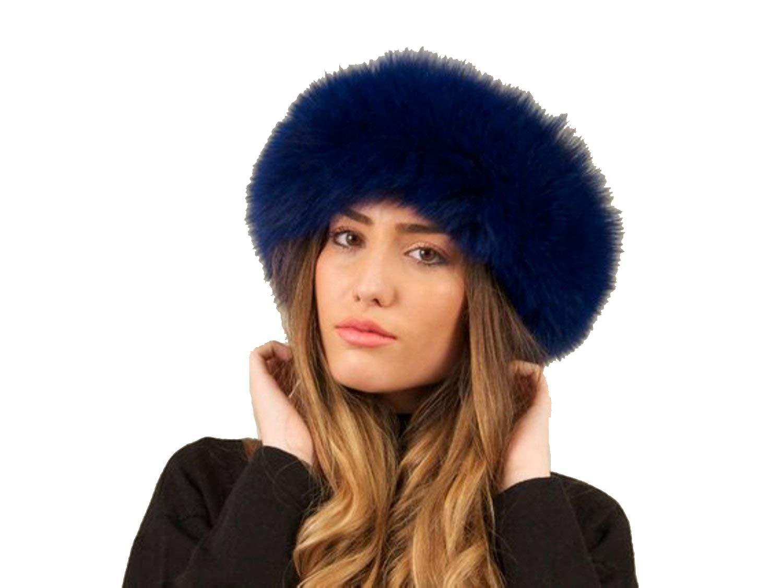 Scarf-Fur-Fox Headband from Cashmere Pashmina Group (NAVY BLUE)