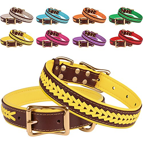 BronzeDog Leather Braided Dog Collar with Brass Buckle Padded Collars for Puppy Small Medium Large Dogs Pink Blue Red Purple Beige (Neck Size 11