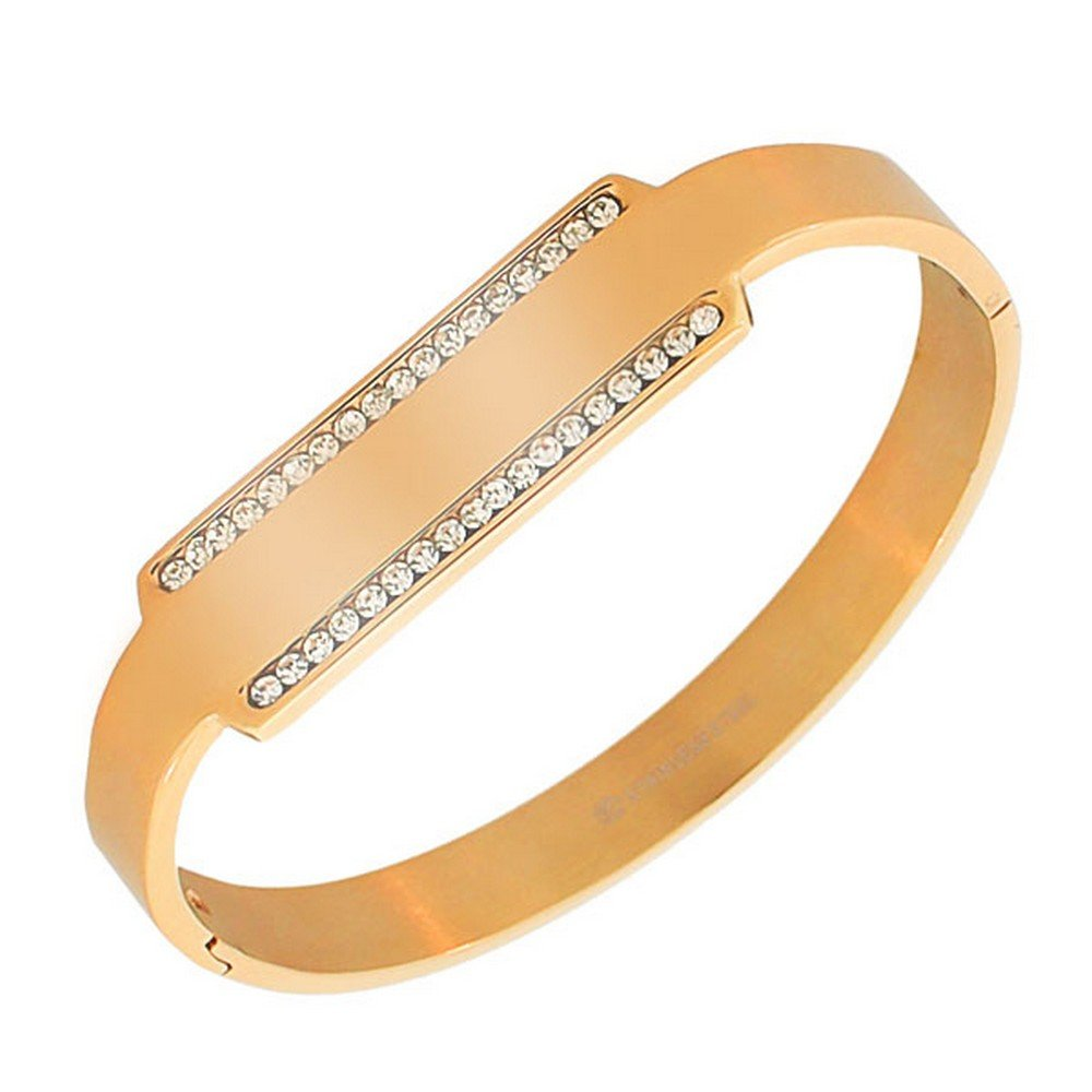 My Daily Styles Stainless Steel Rose Gold-Tone White CZ Bangle Bracelet