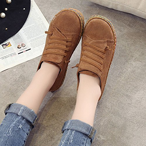 Boat on Loafer Leather Women's Travel Wide Flat Casual Shoes Suede Slip Brown Labatostyle qOZRgn