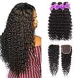 Miss CARA Brazilian Hair Deep Wave 3 Bundles with Closure (24 26 28+20) 100% Unprocessed Virgin Human Hair Bundles Deep Curly Human Hair Extensions Natural Color