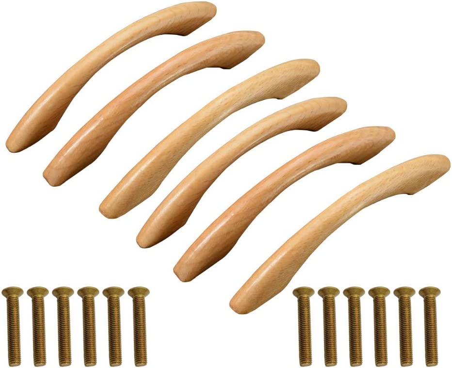 JUN-H 6Pcs Tire de la Manija Perilla de la Manija del Gabinete Para Muebles Puerta Armario Cajón Armario Armario de Madera Arco en Forma de Mango 128 mm (Amarillo)