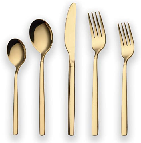 Berglander 20 Piece Titanium Gold Plated Stainless Steel Flatware Set