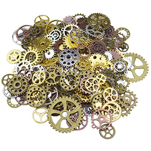 Gutapo 150g Steampunk Gear Cog Wheel Clock Charms Pendant Skeleton Watch Wheel Crafting Jewelry Making Accessory Handmade Brozen Silver Gold Copper from Gutapo