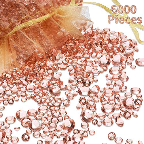 6000 Pieces Rose Gold Acrylic Diamonds Clear Table Scatter Crystals for Vase Filler Christmas Wedding Birthday Party Table Decorations (Rose Gold)