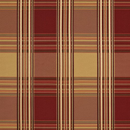 (Burgundy Gold and Coral Plaid Woven Damask Upholstery Fabric by the yard)