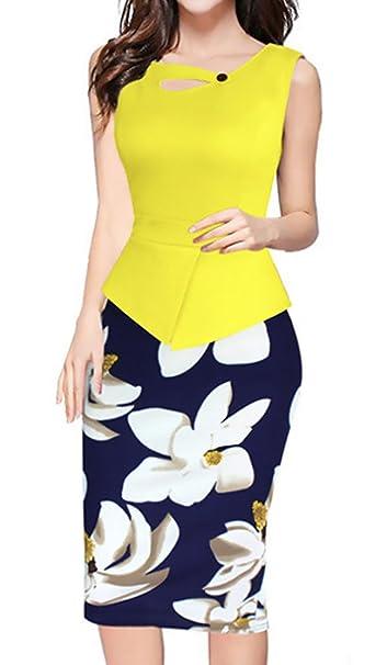 Mujer Vestidos Elegantes Sin Mangas Impresión Floral Splicing Negocios Oficina Vestidos De Lindo Chic Fiesta Vintage