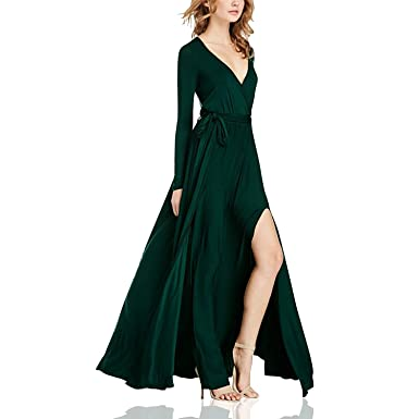Dolamen Damen Kleider, V-Ausschnitt Elegant Lang Cocktailkleid ...