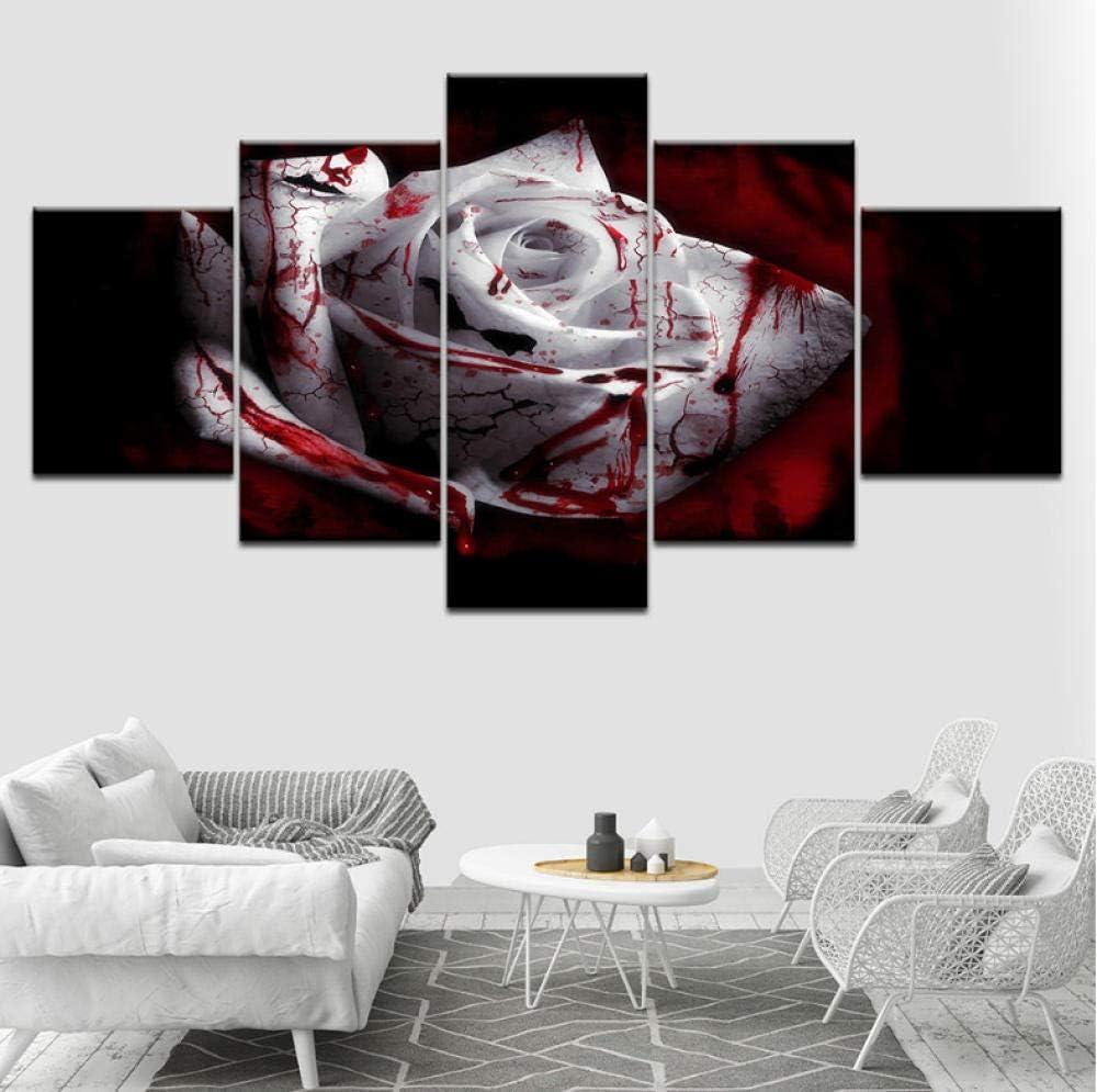 PrintWUHUA Cuadros para Dormitorios Modernos Hermosa Rosa Blanca Rosa Flor Bodegón Cuadros De Salon 5 Partes (W) 100CMX(H) 55CM