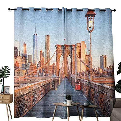 (duommhome City Fresh Curtains New York Skyline Closeup Brooklyn Bridge in Manhattan Over Hudson River 70%-80% Light Shading, 2 Panels,W84 x L108 Orange Pale Blue Grey)
