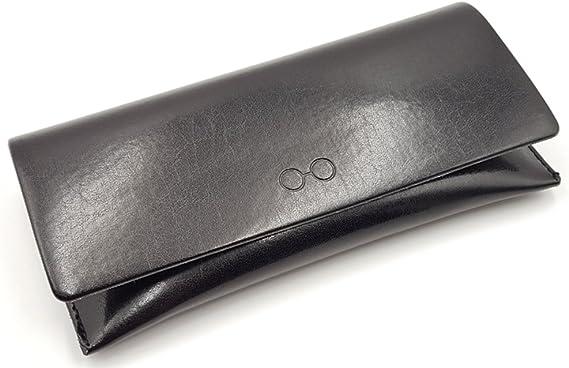 Bifold Black Soft Leather Case for Eyeglasses Sunglasses Eyewear Holder Pouch Sleeve