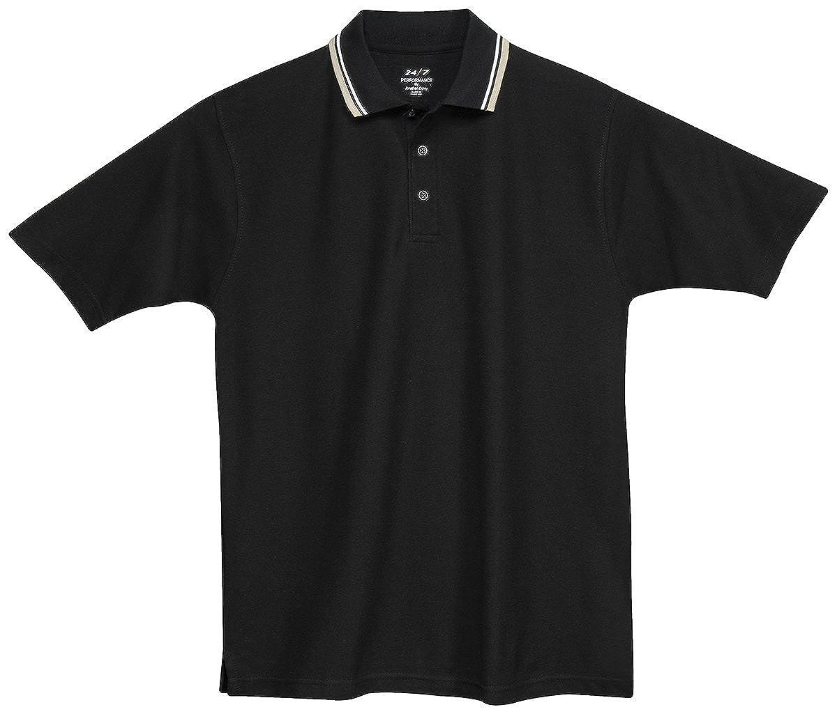 Whispering Pines Sportwear Mens Baby Pique Polo Shirt/_BLACK//WHITE//TAN