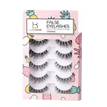 740c2eda5c1 Amazon.com : 5 Pairs 3D False Eyelashes Flexible False Lashes Reusable  Handmade Cross Fake Eye Lashes for Makeup Natural Looking Black Eyelashes  LK LANKIZ : ...