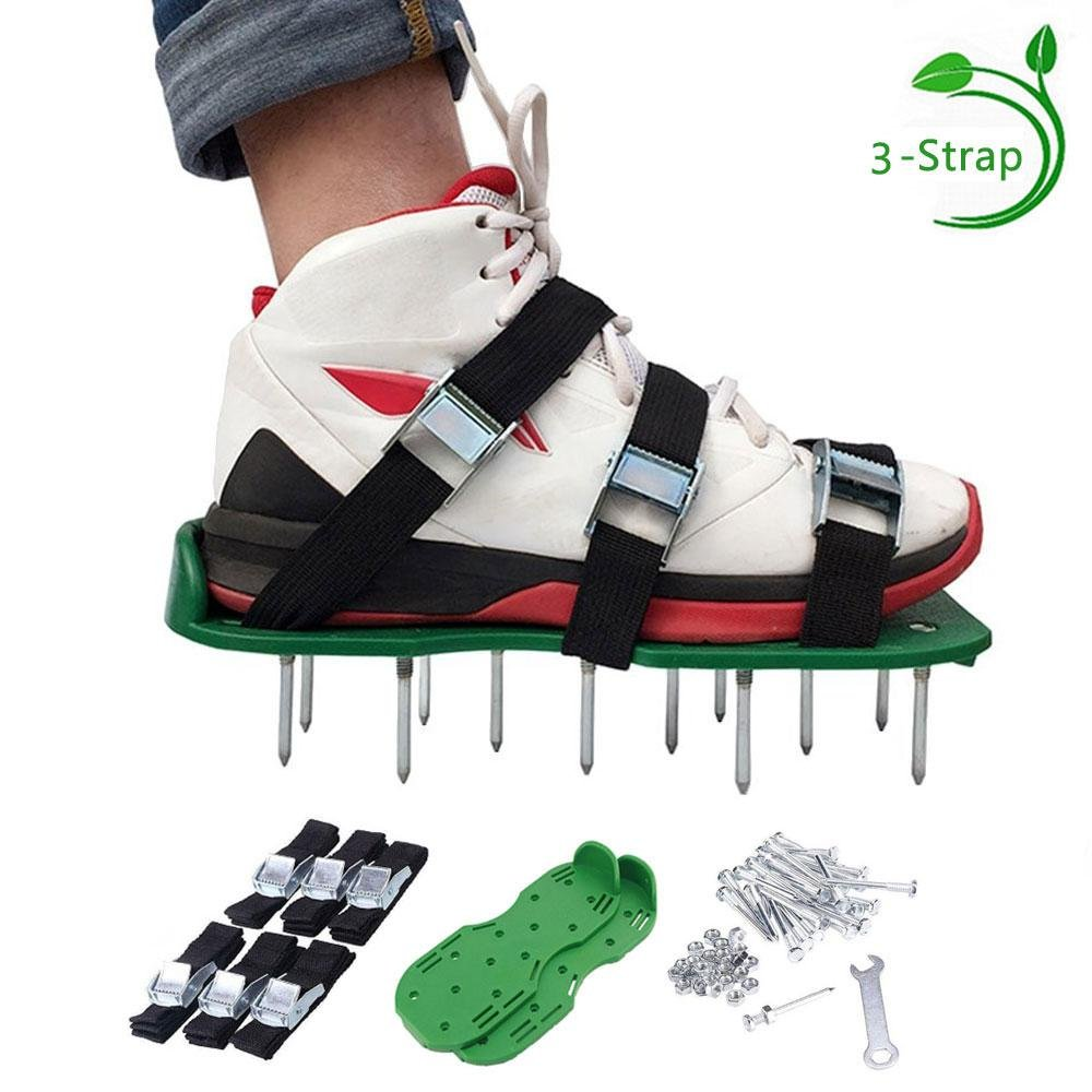 Lawn Aerator Shoes,Lawn Aerator Spike Shoes,Lawn Aerator Spike Sandal Shoes with 6 Adjustable Straps 2 Extra Spikes, Zinc Alloy Buckles for Aerating Your Lawn, Yard, Garden