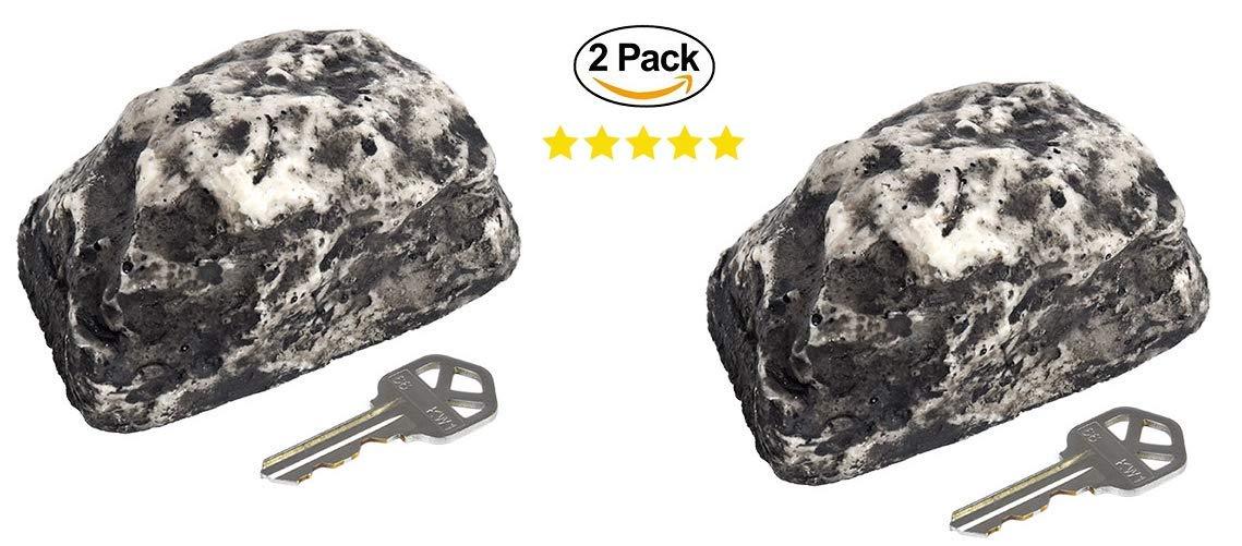 2 Key Hider Stone Rocks. Hide Extra Key Under Rock. Decoration Rock Fake Stone Key Hiders, 3.25x2.25 in