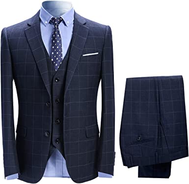 Allthemen Mens Suits 3 Piece Slim Fit Checked Suit Single Breasted Herringbone Vintage Suit Tuxedo Formal Business Jacket Waistcoat Trouser L Blue 1 Amazon Co Uk Clothing