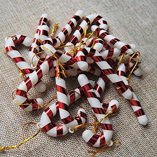 (KICODE 12PCS Christmas Tree Candy Cane Hanging Ornament Home Party Festival Xmas Decor Plastic Funny )