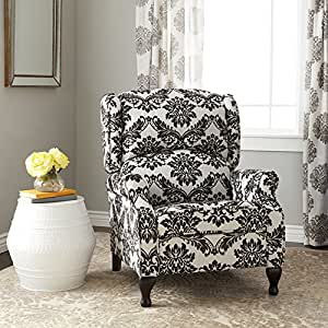 Recliner chair floral pattern upholstered modern wingback reclining armchair for for Wingback recliner chairs living room