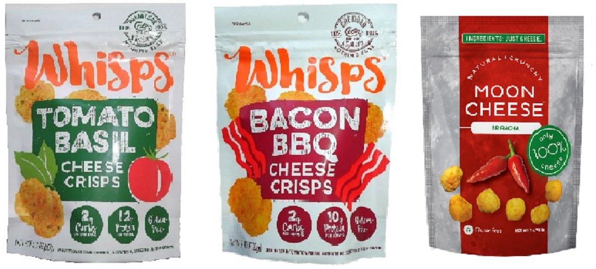 Whisps Parmesan Tomato Basil, Cheddar Bacon BBQ (2.12oz) & Moon Cheese Monterey Jack Sriracha (2oz) - 3 Cheese Bundle