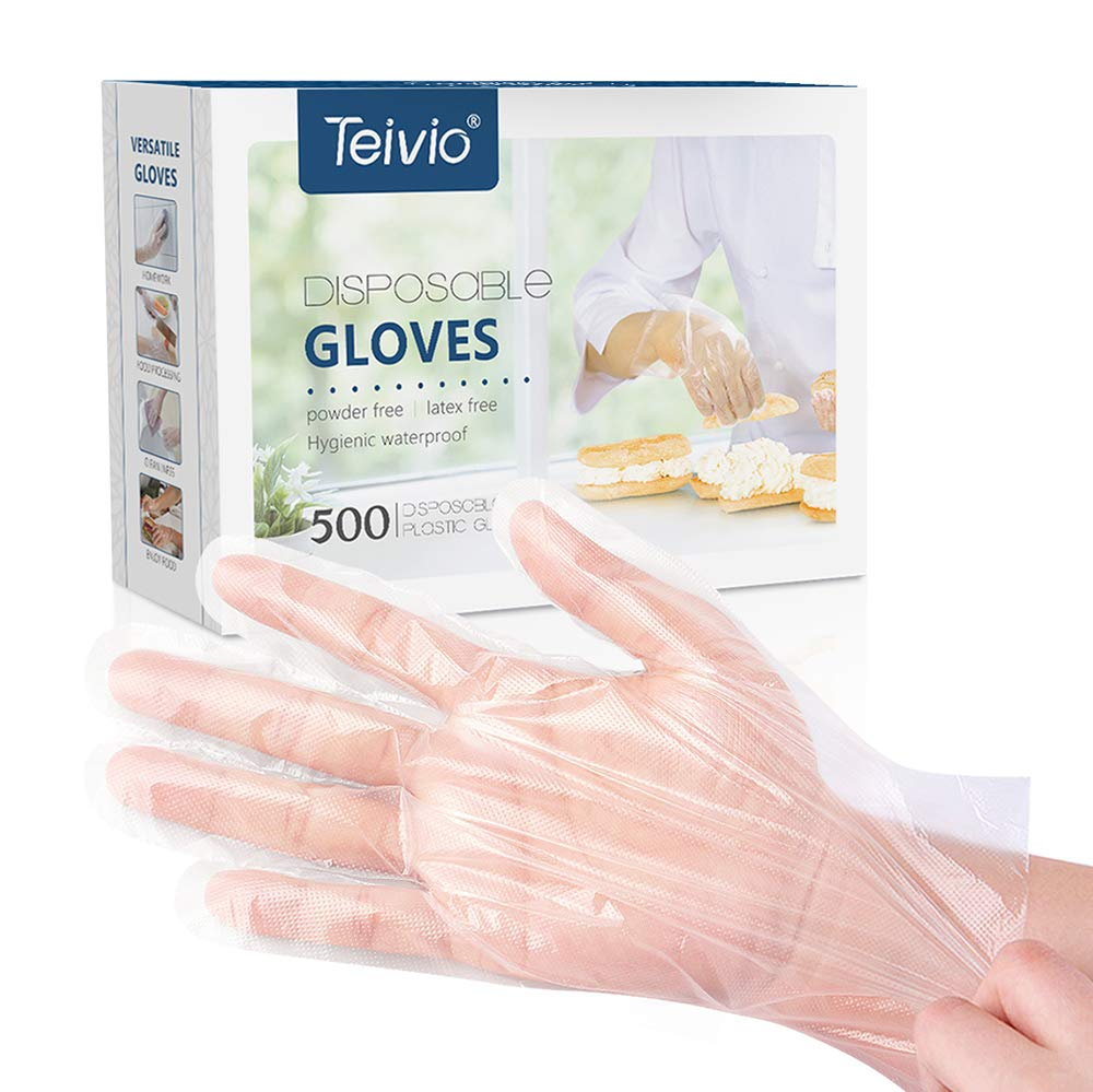 Disposable Gloves, 500 Pcs Plastic Gloves for Kitchen Cooking Cleaning Safety Food Handling, Powder and Latex Free by Teivio