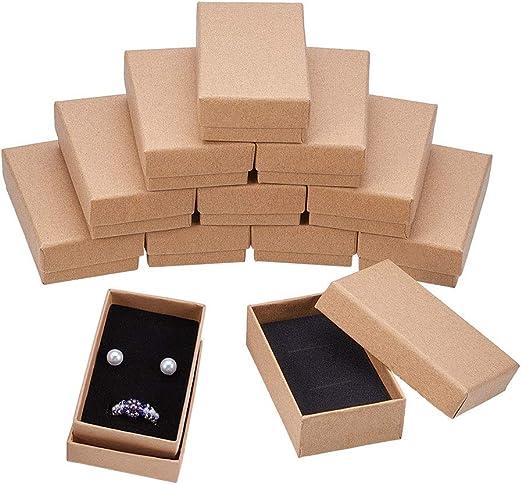 BENECREAT 18 Pack Cajas de Cartón Kraft para Collar 8x5x2cm Pequeña Caja de Regalo Rectángulo de Pulsera y Pendientes Cumpleaños Boda Festival: Amazon.es: Hogar