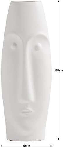 Torre Tagus Litho Ceramic Vase, Tall, Matte White