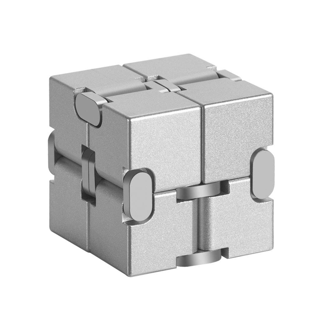 GUOJINJIN Infinite Cube, Metal Cube Handheld Accessories Toy Desktop Decompression Toy Game Eliminates Stress and Anxiety for Children and Adults,Silver