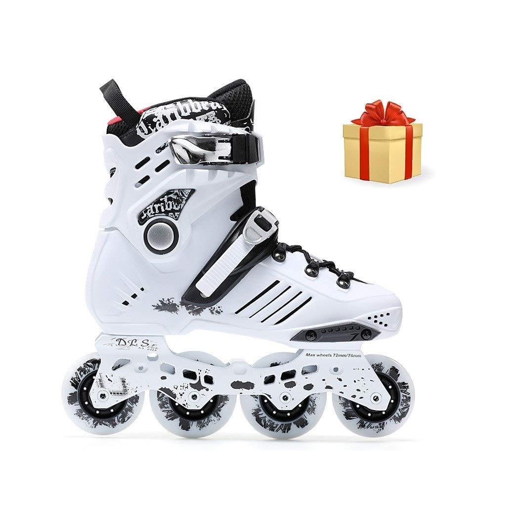 XDSAインラインスケート 大学生の保護具に適したインラインスケート、男性と女性のための大人の単列スケート四輪ローラースケート(6枚入りホワイト) (Color : B, Size : 42 EU/9 US/8 UK/26cm JP)