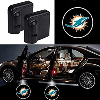 For Miami Dolphins Car Door Led Welcome Laser Projector Car Door Courtesy Light Suitable Fit for all brands of cars: Automotive