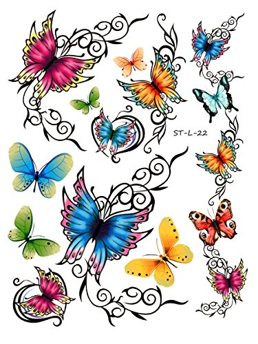 Supperb Temporary Tattoos - Elegant Colorful Butterflies Tattoo (Pregnant Halloween Costumes Baby Arms)