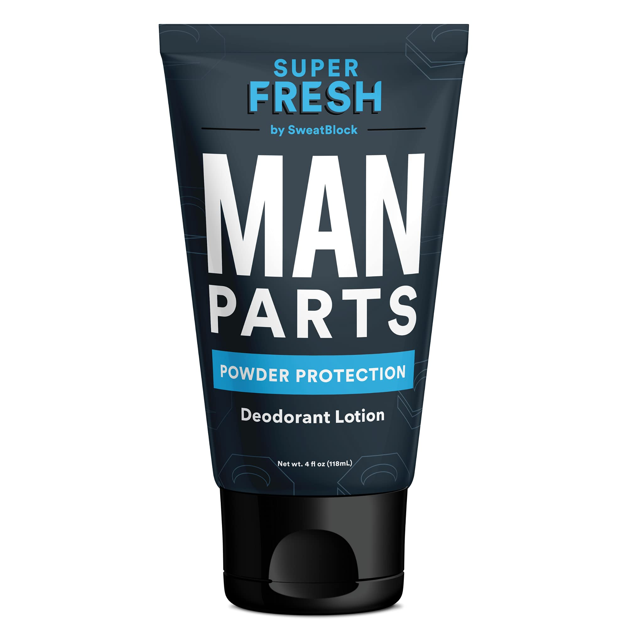 Super Fresh Ball Deodorant for Men by SweatBlock | Prevent Sweaty Man Parts & Odor | Talc-Free, Paraben-Free, Aluminum-Free | Lotion-to-Powder, No Mess, Quick-Dry Formula | 4 fl oz Tube
